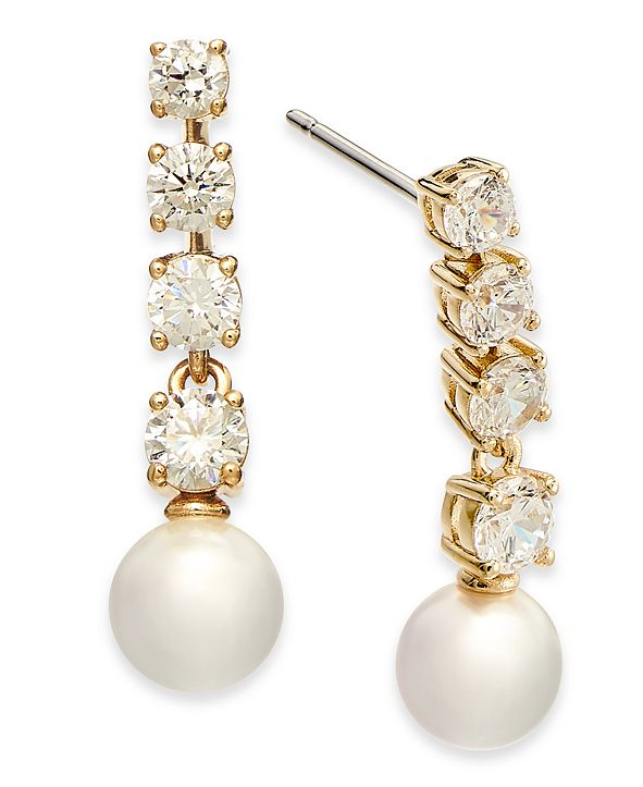 Eliot Danori Crystal & Imitation Pearl Drop Earrings, Created for Macy's