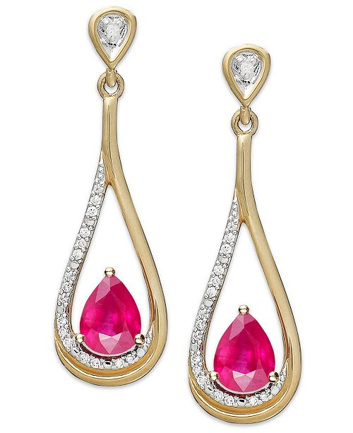 Macy's 14k Gold Earrings, Ruby (9/10 ct. t.w.) and Diamond (1/10 ct. t.w.) Pear-Shaped Drop Earrings