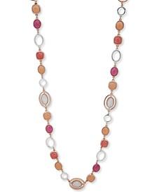 """Two-Tone Multicolor Stone 42"""" Strand Necklace"""