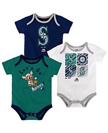 Baby Seattle Mariners Running Home 3 Piece Bodysuit Set