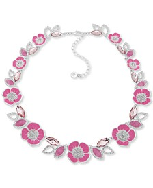 """Crystal, Stone & Mother-Of-Pearl 3D Flower Collar Necklace, 16"""" + 3"""" extender"""