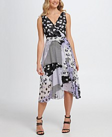 Sleeveless Double-V Faux Wrap Dress W/Belt