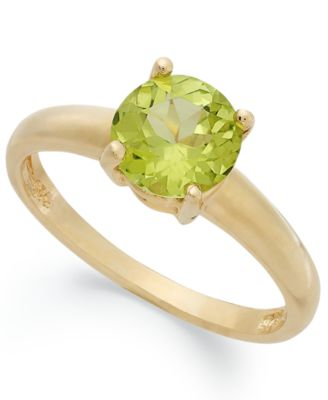 Image of Victoria Townsend 18k Gold over Sterling Silver Ring, Peridot August Birthstone Ring (1-1/4 ct. t.w.