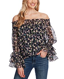 Floral-Print Smocked Off-The-Shoulder Top