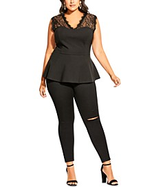 Trendy Plus Size Peplum Desire Top