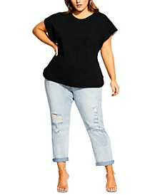 Trendy Plus Size Cotton Sleeve Surprise Top