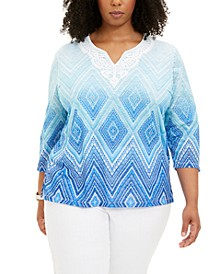 Plus Size Sea You There Printed Top