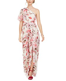 One-Shoulder Floral-Print Chiffon Gown