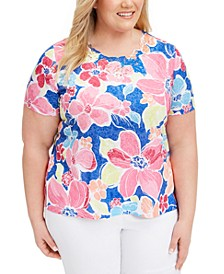 Plus Size Laguna Beach Floral-Print Top
