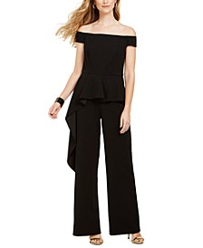 Off-The-Shoulder Peplum Jumpsuit