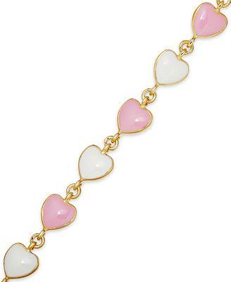Children's 18k Gold over Sterling Silver Bracelet, Pink and White Enamel Heart Bracelet