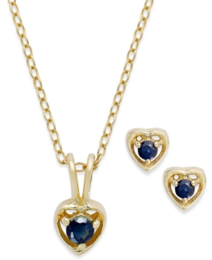 Children's 18k Gold over Sterling Silver Necklace and Earrings Set, September Birthstone Sapphire Heart Pendant and Stud Earrings Set (1/4 ct. t.w.)