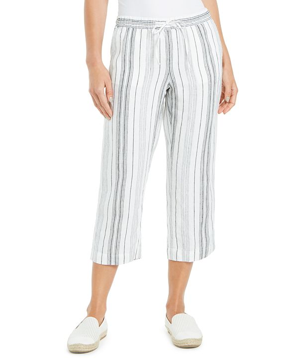 Charter Club Petite Juniper Striped Cropped Pants, Created for Macy's