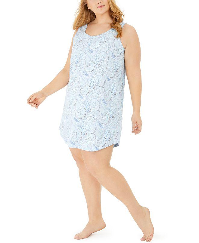 Charter Club Plus Size Cotton Sleeveless Printed Sleep Shirt, Created for Macy's