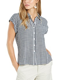 Gingham-Print Camp Shirt, Created for Macy's