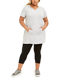Ideology Plus Size Hooded V-Neck Tunic Top, Created for Macy's