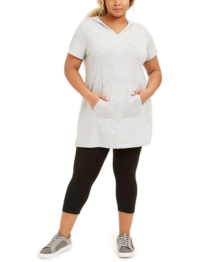 Ideology - Plus Size Hooded V-Neck Tunic Top