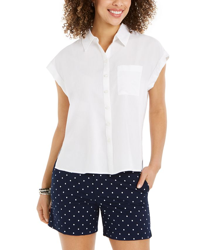 Style & Co - Button-Front Short-Sleeve Top