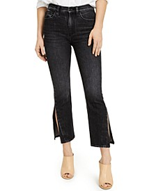 Holly Cropped Side-Slit Colored Jeans