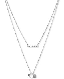 "Silver-Tone Bar & Multi-Charm Layered Necklace, 17"" + 2"" extender"