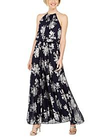 Metallic-Print Pleated Blouson Gown