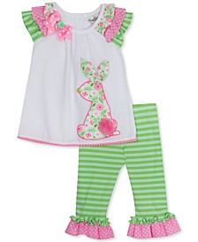 Little Girls 2-Pc. Ruffled Bunny Top & Leggings Set