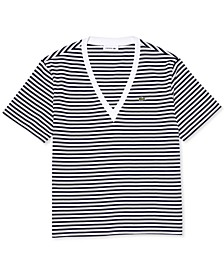 Women's Striped Cotton-Jersey V-Neck T-Shirt