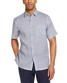 Men's Gocciolina Medallion Print Linen Short Sleeve Woven Shirt, Created for Macy's