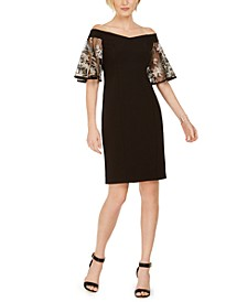 Off-The-Shoulder Embroidered-Sleeve Dress