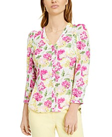 Floral Button-Front Top, Created for Macy's