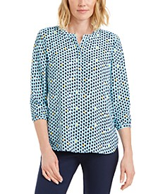 Petite Printed Pleat-Back Top, Created for Macy's