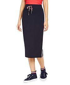 Side-Stripe Midi Skirt