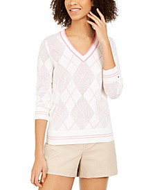 Argyle Pointelle Cotton Sweater