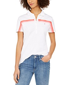 Striped-Trim Polo Shirt