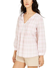 Pintucked Plaid Top