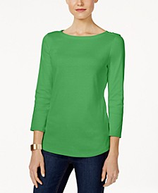 Petite Pima Cotton Button-Shoulder Top, Created for Macy's