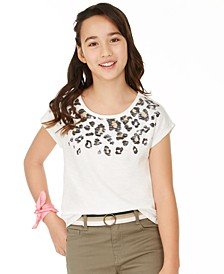 Big Girls Leopard-Print-Border T-Shirt, Created for Macy's