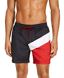 "INC Men's Splice Colorblock 5"" Swim Trunks, Created for Macy's"