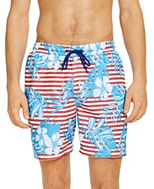 "Men's Stripe Floral Leaf 7"" Swim Trunks, Created for Macy's"