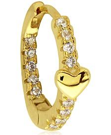 Cubic Zirconia Heart 10K Gold-Tone Sterling Silver-Tone Ear Cartilage Hoop
