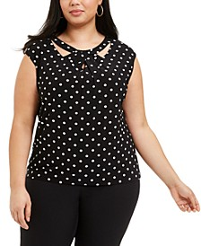 Plus Size Polka Dot Stretch Top