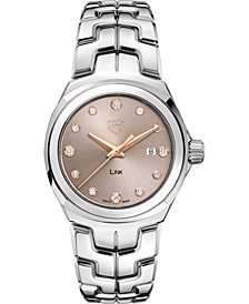 Women's Swiss Link Diamond (1/6 ct. t.w.) Stainless Steel Bracelet Watch 32mm
