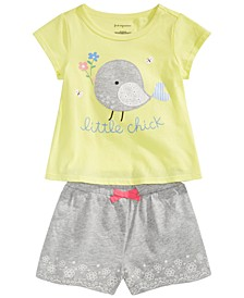 Baby Girls Little Chick T-Shirt & Floral-Border Shorts, Created For Macy's