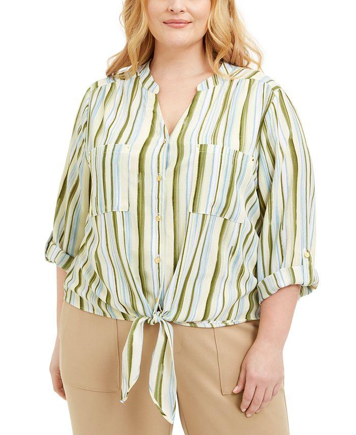 Adrienne Vittadini - Plus Size Striped Tie-Front Blouse