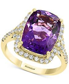 EFFY® Amethyst (5-5/8 ct. t.w.) & Diamond (1/2 ct. t.w.) Emerald-Cut Ring in 14k Gold