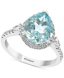 EFFY® Aquamarine (2-5/8 ct. t.w.) & Diamond (3/8 ct.t.w.) Pear Shaped Halo Ring in 14k White Gold