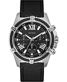 Men's Black Silicone & Leather Strap Watch 48mm