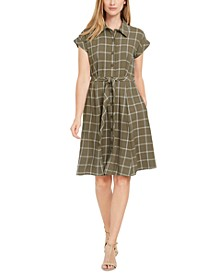 Petite and Regular Plaid Shirtdress