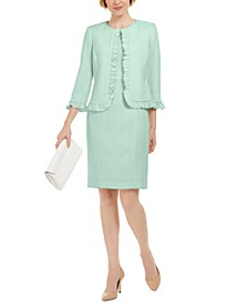Petite Stretch Crepe Sheath Dress and Crepe Open Jacket With Ruffle Trim