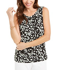 Printed Twist-Neck Sleeveless Top